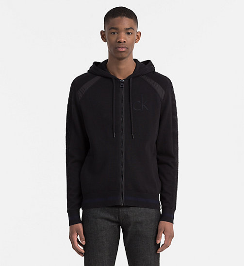 Hooded Zip-Through Cardigan - CK BLACK - CALVIN KLEIN JEANS JUMPERS - main image