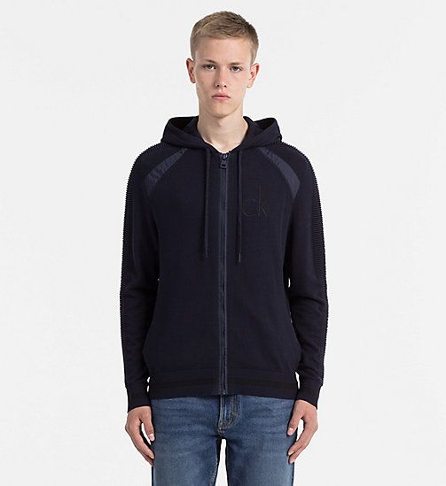 Hooded Zip-Through Cardigan - NIGHT SKY - CALVIN KLEIN JEANS JUMPERS - main image