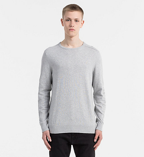 CALVIN KLEIN JEANS Embossed Logo Sweater - LIGHT GREY HEATHER - CALVIN KLEIN JEANS COLD COMFORTS - main image