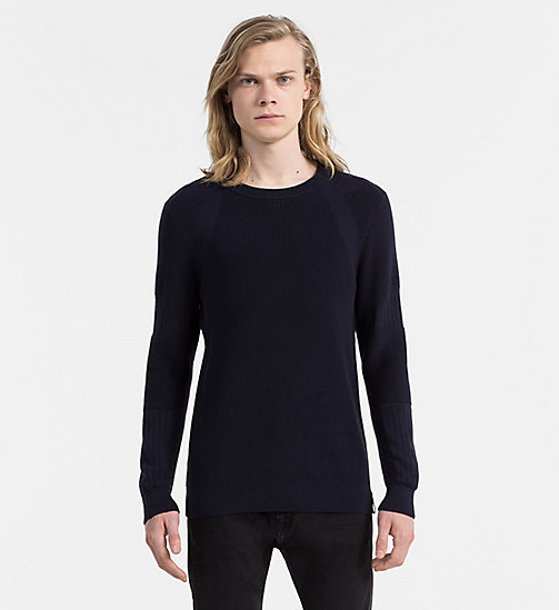 CALVIN KLEIN JEANS Textured Knit Sweater - NIGHT SKY - CALVIN KLEIN JEANS COLD COMFORTS - main image