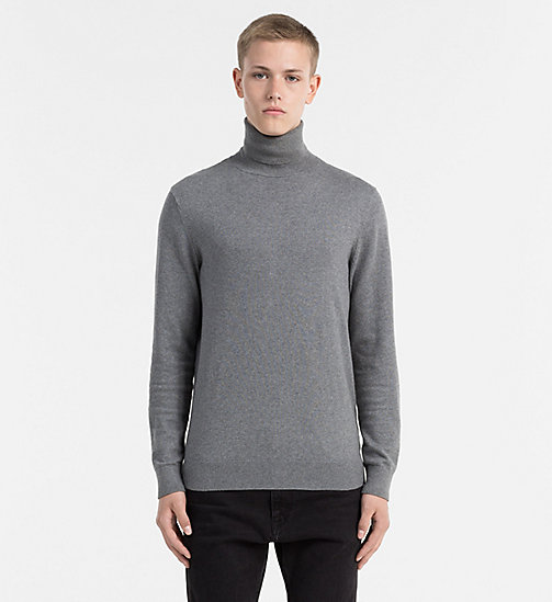 CALVIN KLEIN JEANS Cotton Cashmere Turtleneck Sweater - MID GREY HEATHER - CALVIN KLEIN JEANS COLD COMFORTS - main image