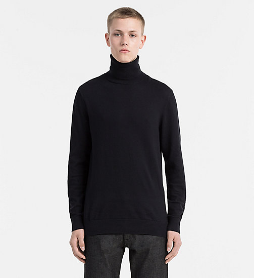 CALVIN KLEIN JEANS Cotton Cashmere Turtleneck Sweater - CK BLACK - CALVIN KLEIN JEANS NEW ARRIVALS - main image