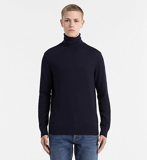 CALVIN KLEIN JEANS Cotton Cashmere Turtleneck Sweater - NIGHT SKY - CALVIN KLEIN JEANS JUMPERS - main image