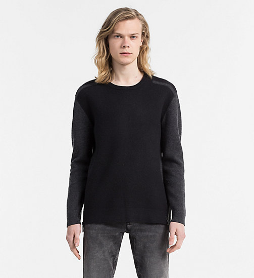 CALVIN KLEIN JEANS Boiled Wool Cotton Sweater - CK BLACK - CALVIN KLEIN JEANS JUMPERS - main image
