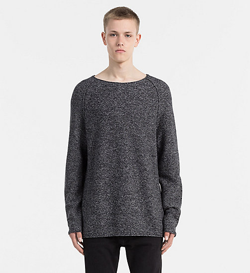CALVIN KLEIN JEANS Mouliné Cotton Sweater - CK BLACK - CALVIN KLEIN JEANS JUMPERS - main image