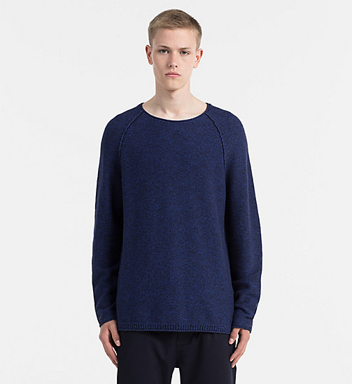 Mouliné Cotton Sweater - MID INDIGO - CALVIN KLEIN JEANS JUMPERS - main image