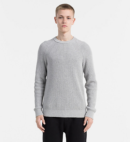 CALVIN KLEIN JEANS Sweater aus Baumwoll-Wollmix - LIGHT GREY HEATHER - CALVIN KLEIN JEANS PULLOVER - main image