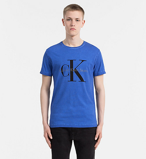 CALVIN KLEIN JEANS Washed Logo T-shirt - GALAXY BLUE - CALVIN KLEIN JEANS T-SHIRTS - main image