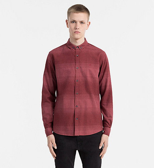 CALVIN KLEIN JEANS Ombre Stripe Flannel Shirt - MERLOT HEATHER - CALVIN KLEIN JEANS CLOTHES - main image