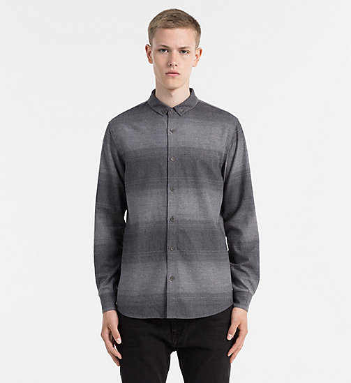 CALVIN KLEIN JEANS Ombre Stripe Flannel Shirt - MID GREY HEATHER - CALVIN KLEIN JEANS CASUAL SHIRTS - main image