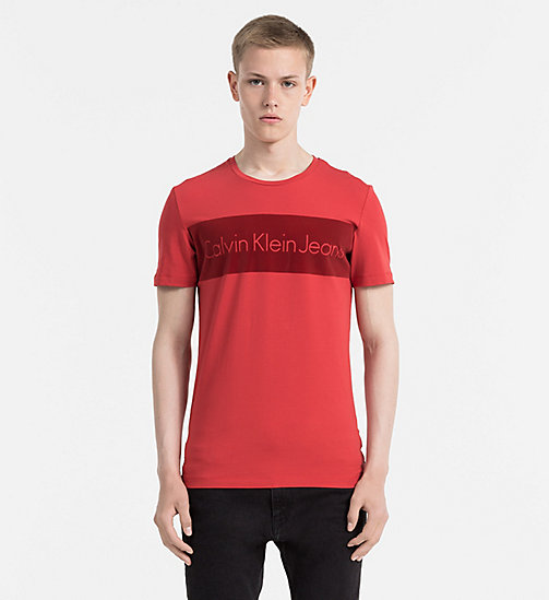Slim Logo T-shirt - POMPEIAN RED - CALVIN KLEIN JEANS T-SHIRTS - main image