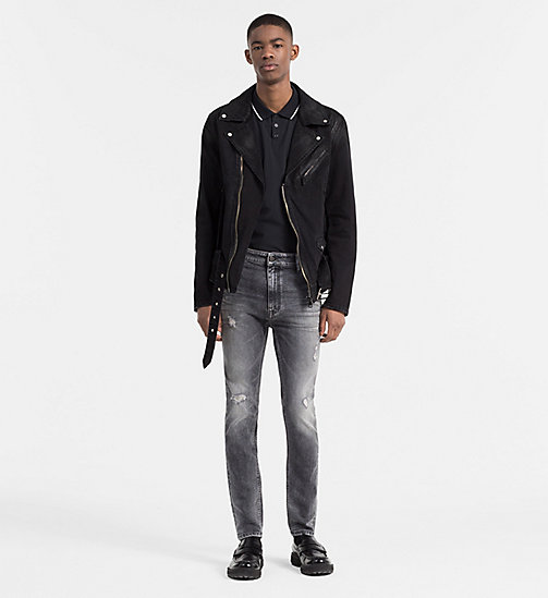 CALVIN KLEIN JEANS Coated Denim Biker Jacket - RUBBERIZED BLACK - CALVIN KLEIN JEANS NEW ARRIVALS - detail image 1