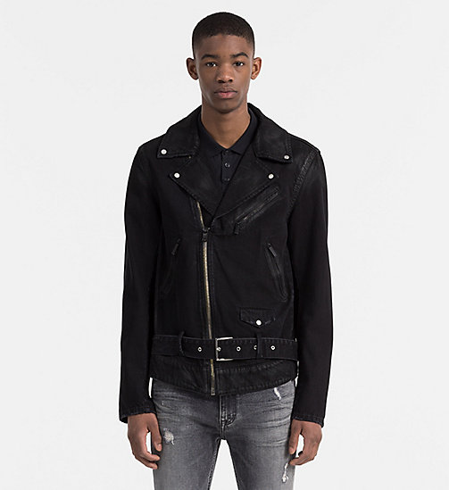 CALVIN KLEIN JEANS Coated Denim Biker Jacket - RUBBERIZED BLACK - CALVIN KLEIN JEANS NEW ARRIVALS - main image