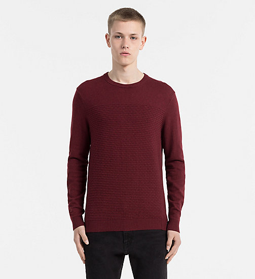 CALVIN KLEIN JEANS Textured Cotton Cashmere Sweater - MERLOT HEATHER - CALVIN KLEIN JEANS JUMPERS - main image