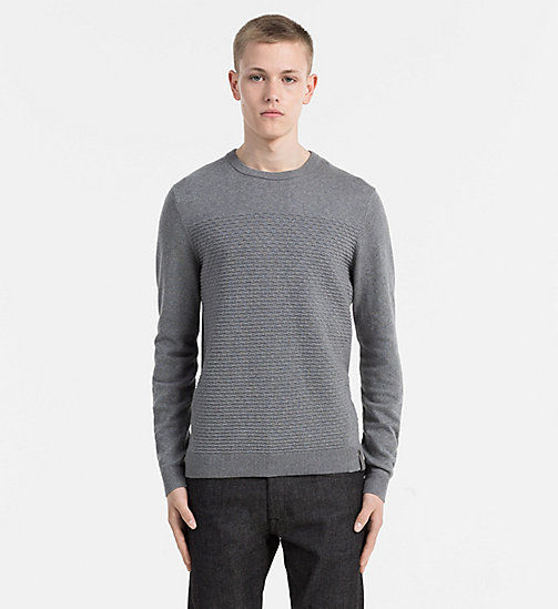 CALVIN KLEIN JEANS Textured Cotton Cashmere Sweater - MID GREY HEATHER - CALVIN KLEIN JEANS JUMPERS - main image