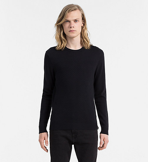CALVIN KLEIN JEANS Textured Cotton Cashmere Sweater - CK BLACK - CALVIN KLEIN JEANS JUMPERS - main image