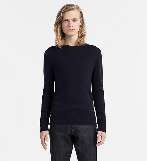 CALVIN KLEIN JEANS Combed Cotton Sweater - NIGHT SKY - CALVIN KLEIN JEANS JUMPERS - main image