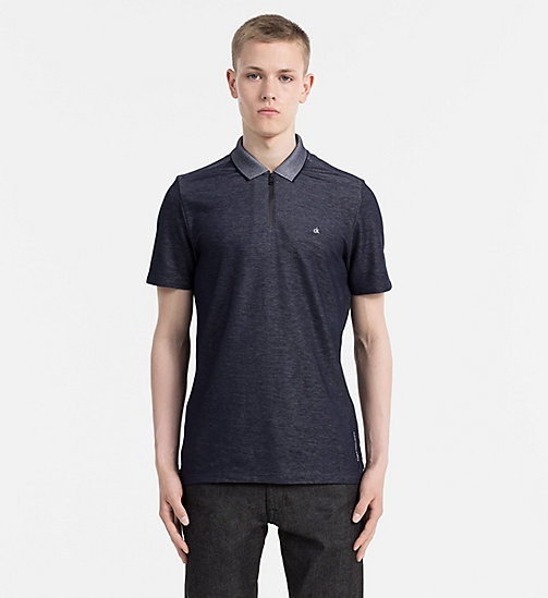 CALVIN KLEIN JEANS Chambray Zip Polo - NIGHT SKY - CALVIN KLEIN JEANS POLO SHIRTS - main image