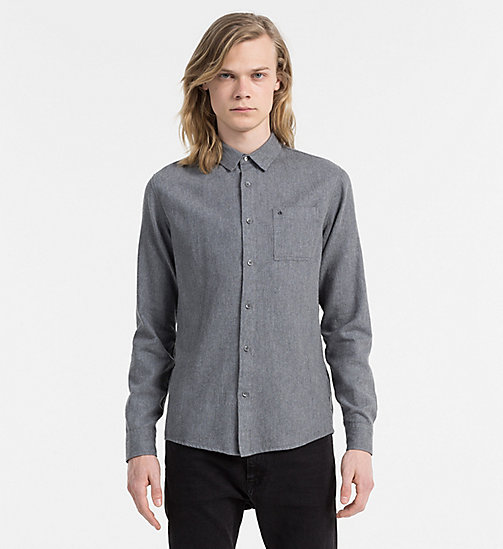 CALVIN KLEIN JEANS Slim Cotton Linen Shirt - MID INDIGO HEATHER - CALVIN KLEIN JEANS CLOTHES - main image