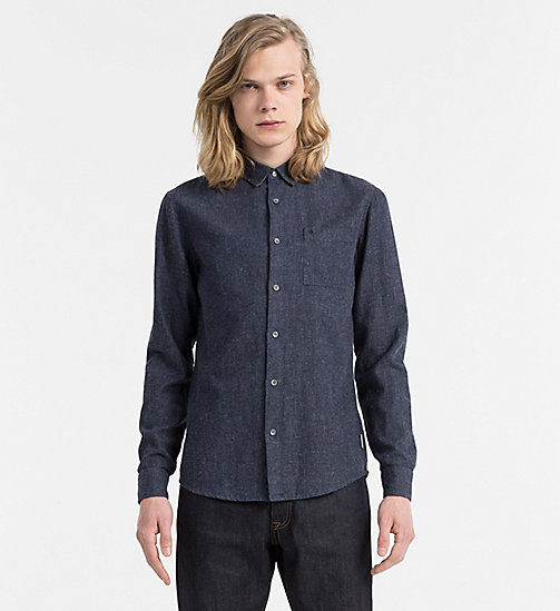 CALVIN KLEIN JEANS Slim Cotton Linen Shirt - NIGHT SKY - CALVIN KLEIN JEANS CLOTHES - main image