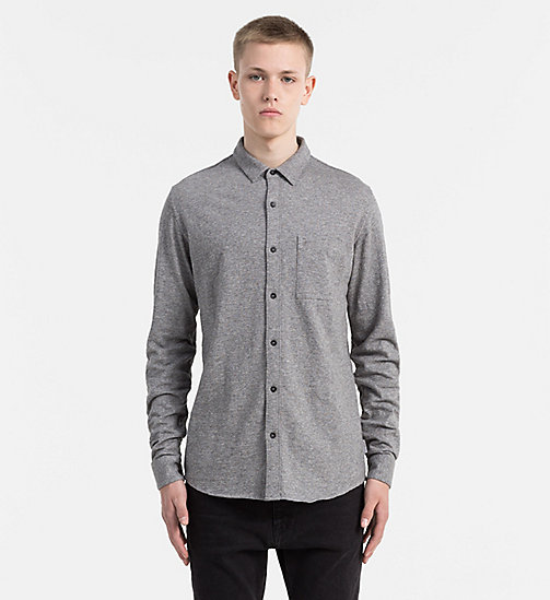 CALVIN KLEIN JEANS Melange Jersey Shirt - MID GREY HEATHER - CALVIN KLEIN JEANS CASUAL SHIRTS - main image