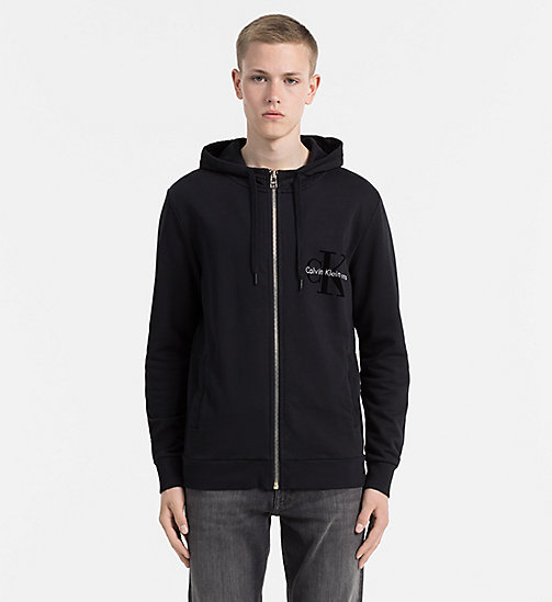 CALVIN KLEIN JEANS Zip-Through Logo Hoodie - CK BLACK - CALVIN KLEIN JEANS CLOTHES - main image