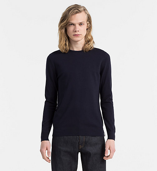 CALVIN KLEIN JEANS Cotton Stretch Sweater - NIGHT SKY - CALVIN KLEIN JEANS CLOTHES - main image