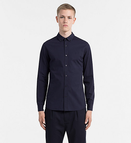 CALVIN KLEIN JEANS Cotton Poplin Shirt - NIGHT SKY - CALVIN KLEIN JEANS CLOTHES - main image
