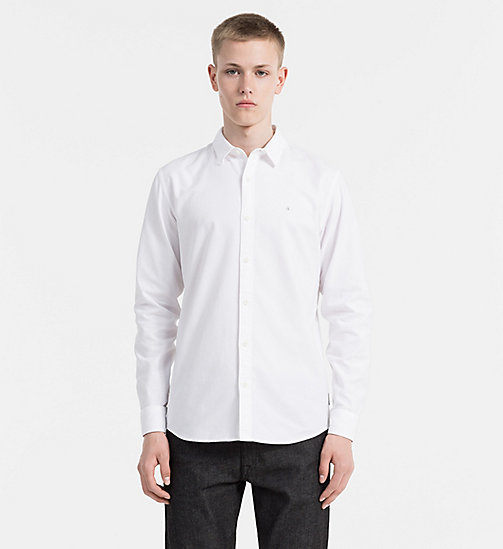 CALVIN KLEIN JEANS Slim Oxford Cotton Shirt - BRIGHT WHITE - CALVIN KLEIN JEANS CASUAL SHIRTS - main image