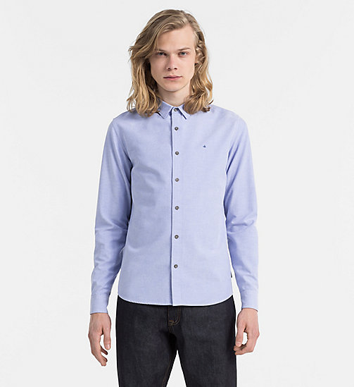 CALVIN KLEIN JEANS Slim Oxford Cotton Shirt - GALAXY BLUE WASHED - CALVIN KLEIN JEANS NEW ARRIVALS - main image