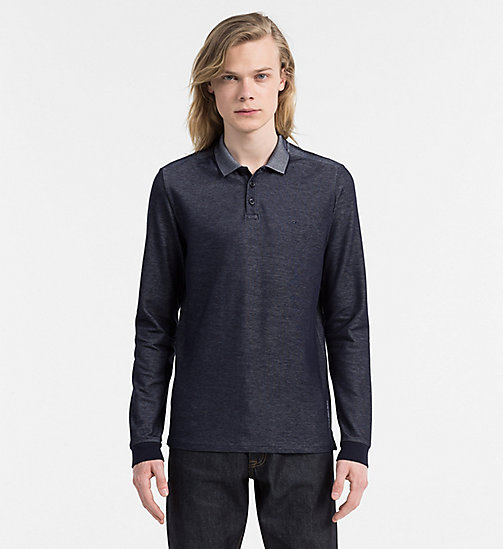 CALVIN KLEIN JEANS Chambray Longsleeve Polo - NIGHT SKY - CALVIN KLEIN JEANS POLO SHIRTS - main image