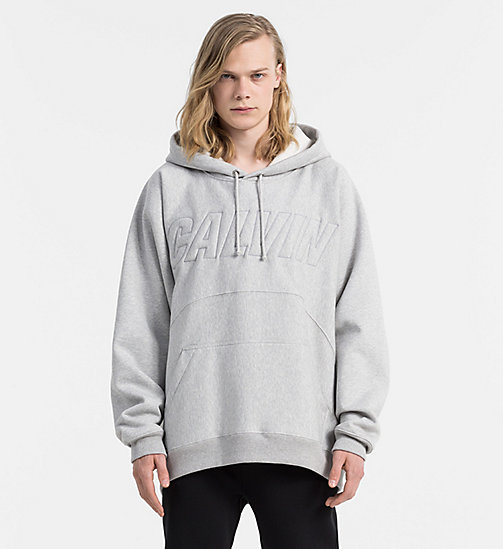 CALVIN KLEIN JEANS Embroidered Logo Hoodie - LIGHT GREY HEATHER - CALVIN KLEIN JEANS SWEATSHIRTS - main image