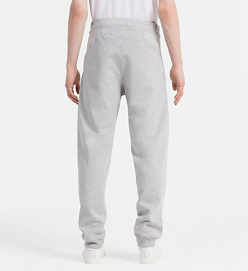 CALVIN KLEIN JEANS Cotton Fleece Sweatpants - LIGHT GREY HEATHER - CALVIN KLEIN JEANS JOGGING BOTTOMS - detail image 1