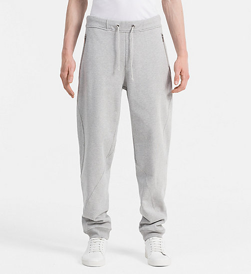 CALVIN KLEIN JEANS Cotton Fleece Sweatpants - LIGHT GREY HEATHER - CALVIN KLEIN JEANS JOGGING BOTTOMS - main image