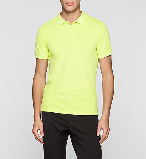 Fitted Cotton Piqué Polo - SHARP GREEN - CK JEANS POLO SHIRTS - main image