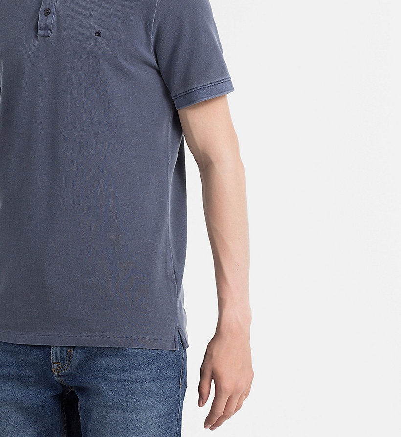 CALVIN KLEIN JEANS Washed Piqué Polo - NIGHT SKY - CALVIN KLEIN JEANS POLO SHIRTS - detail image 2