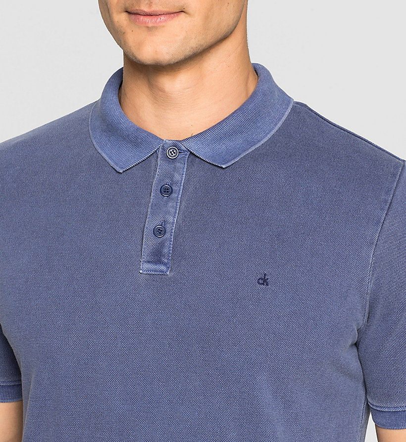 CKJEANS Fitted Cotton Piqué Polo - BLUE DEPTHS - CK JEANS POLO SHIRTS - detail image 2