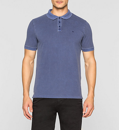 Fitted Cotton Piqué Polo - BLUE DEPTHS - CK JEANS POLO SHIRTS - main image