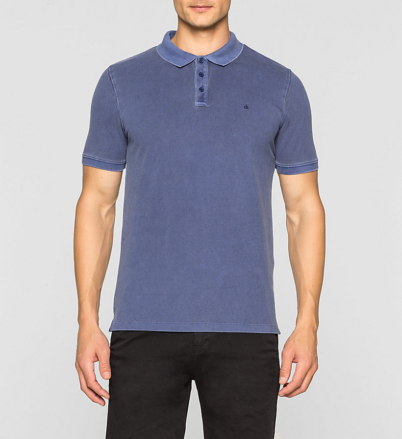 CKJEANS Fitted Cotton Piqué Polo - BLUE DEPTHS - CK JEANS POLO SHIRTS - main image