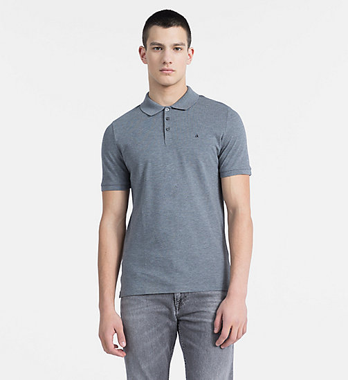 Pima Cotton Piqué Polo - MID GREY HEATHER - CK JEANS POLO SHIRTS - main image