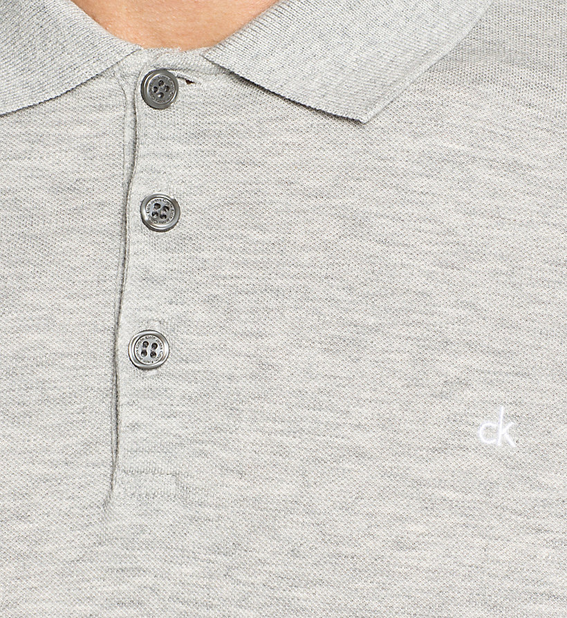 CKJEANS Pima Cotton Piqué Polo - LIGHT GREY HEATHER - CK JEANS POLO SHIRTS - detail image 2