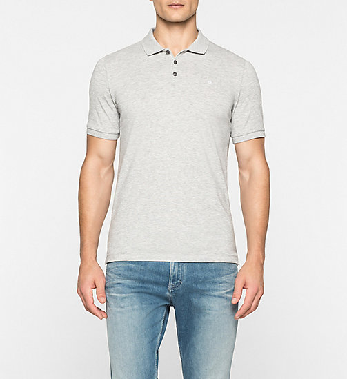 Pima Cotton Piqué Polo - LIGHT GREY HEATHER - CK JEANS POLO SHIRTS - main image