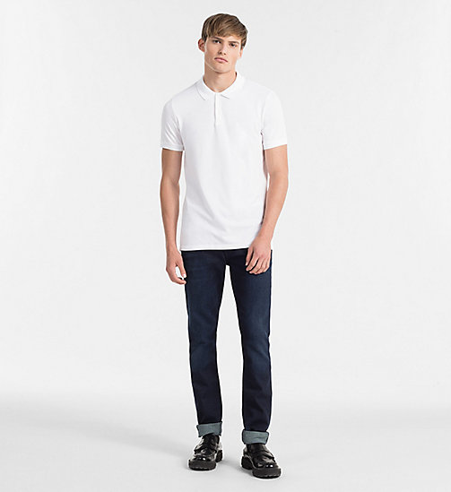 Pima Cotton Piqué Polo - BRIGHT WHITE - CK JEANS POLO SHIRTS - detail image 1