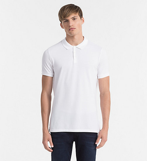 CKJEANS Pima Cotton Piqué Polo - BRIGHT WHITE - CK JEANS GIFTS FOR HIM - main image