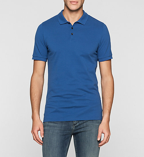Pima Cotton Piqué Polo - MONACO BLUE - CK JEANS POLO SHIRTS - main image