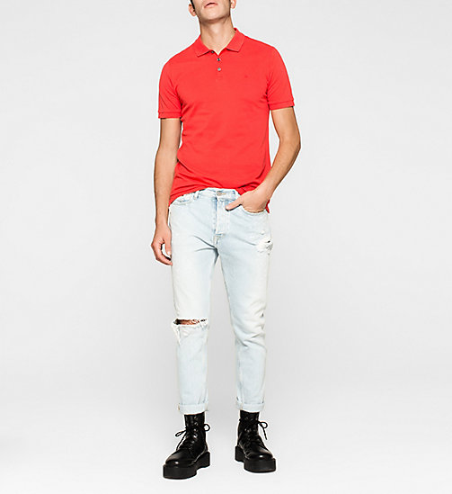 CKJEANS Pima Cotton Piqué Polo - FIERY RED - CK JEANS POLO SHIRTS - detail image 1