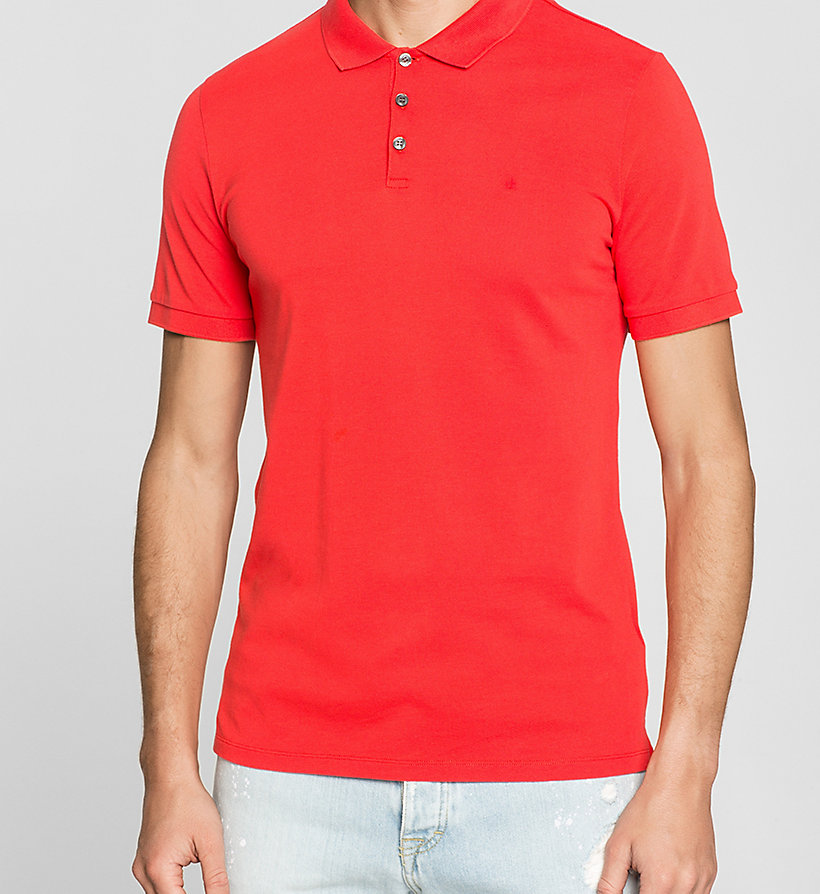 CKJEANS Pima Cotton Piqué Polo - FIERY RED - CK JEANS POLO SHIRTS - detail image 2