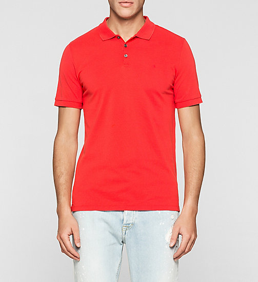 CKJEANS Pima Cotton Piqué Polo - FIERY RED - CK JEANS POLO SHIRTS - main image