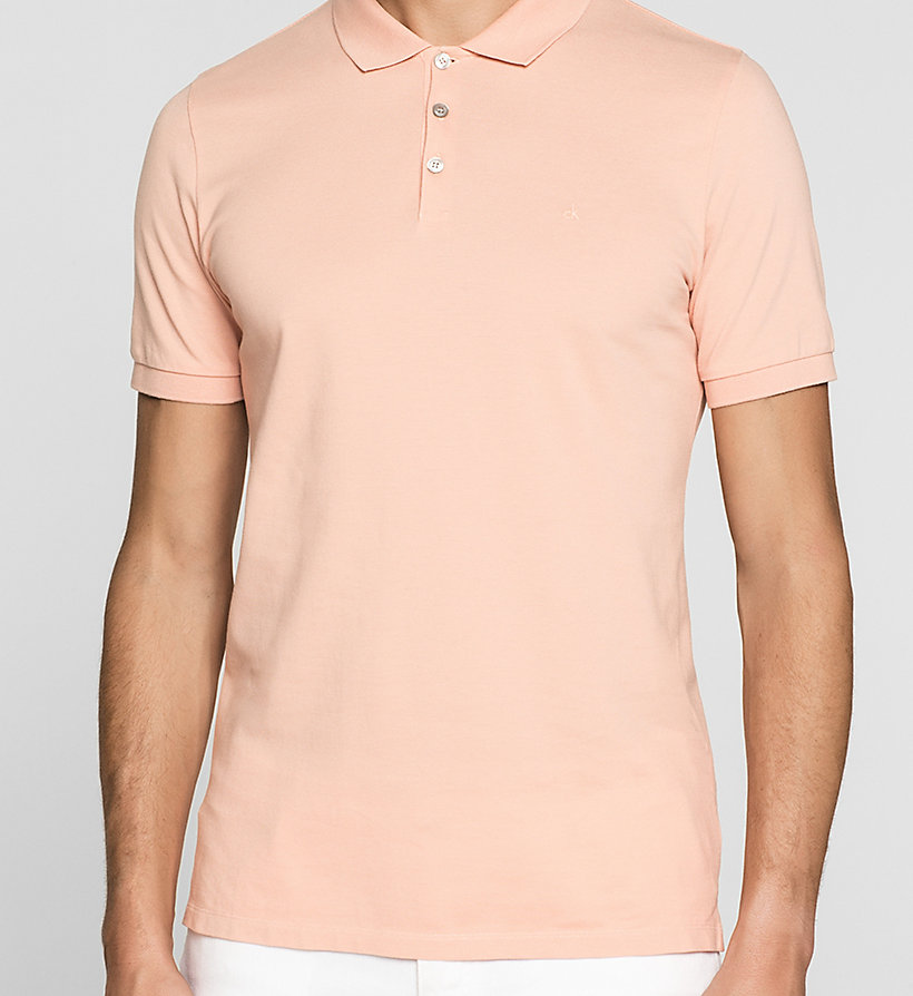 CKJEANS Pima Cotton Piqué Polo - PEACH BEIGE - CK JEANS POLO SHIRTS - detail image 2