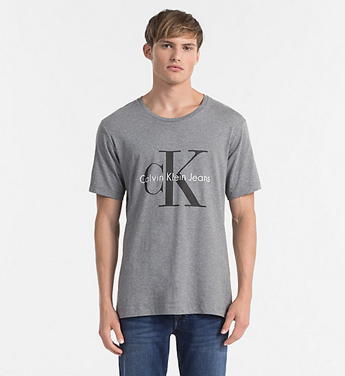 Camiseta regular con logo - LIGHT GREY HEATHER - CK JEANS CAMISETAS - imagen principal